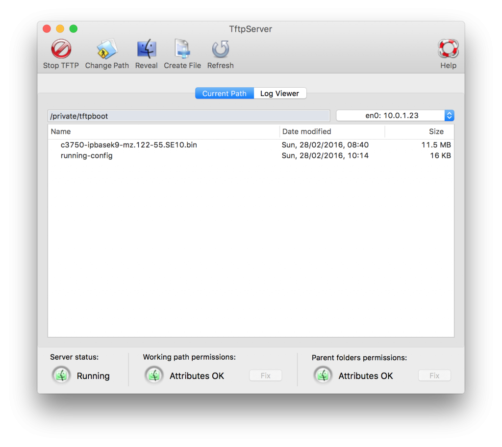 Using the Built in TFTP Server on OS X El Capitan – Write Mem