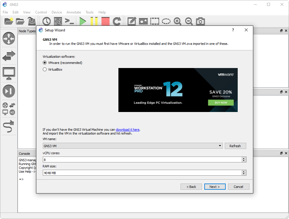 GNS3 VM and VMware Workstation 12 Player: Could not find the